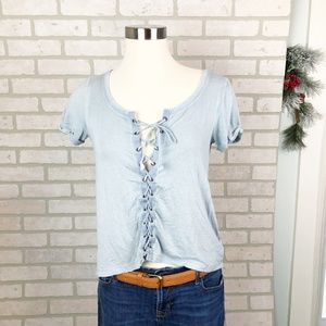 American Eagle Soft & Sexy Lace Up front T-Shirt S